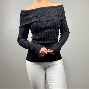 Cache off shoulder beaded knit blouse sz Small